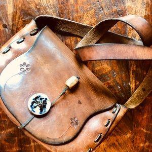 Vintage 70's hippie boho, flower child leather bag